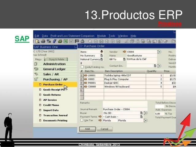 Chimbote, Setiembre 2013 13.Productos ERP Privativos SAP