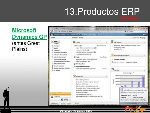 Chimbote, Setiembre 2013 13.Productos ERP Privativos Microsoft Dynamics GP (antes Great Plains)