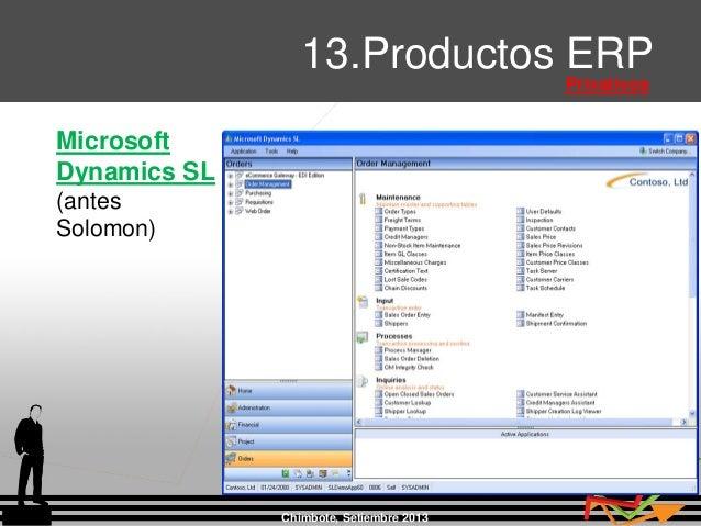 Chimbote, Setiembre 2013 13.Productos ERP Privativos Microsoft Dynamics SL (antes Solomon)