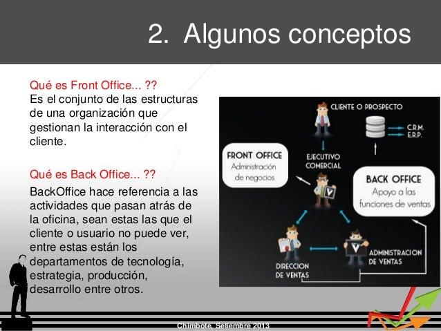 2. Algunos conceptos Chimbote, Setiembre 2013 Qué es Front Office... ?? Es el conjunto de las estructuras de una organizac...