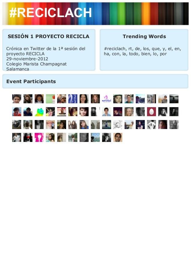#RECICLACHSESIÓN 1 PROYECTO RECICLA                         Trending WordsCrónica en Twitter de la 1ª sesión del   #recicl...
