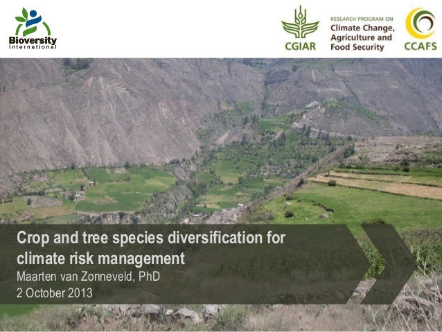 Crop and tree species diversification for climate risk management Maarten van Zonneveld, PhD 2 October 2013
