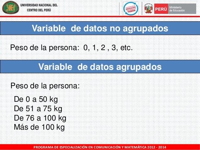 Variable de datos no agrupados Peso de la persona: 0, 1, 2 , 3, etc.  Variable de datos agrupados Peso de la persona: De 0...
