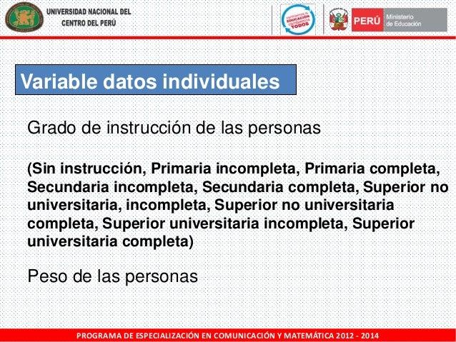 Variable datos individuales Grado de instrucción de las personas (Sin instrucción, Primaria incompleta, Primaria completa,...