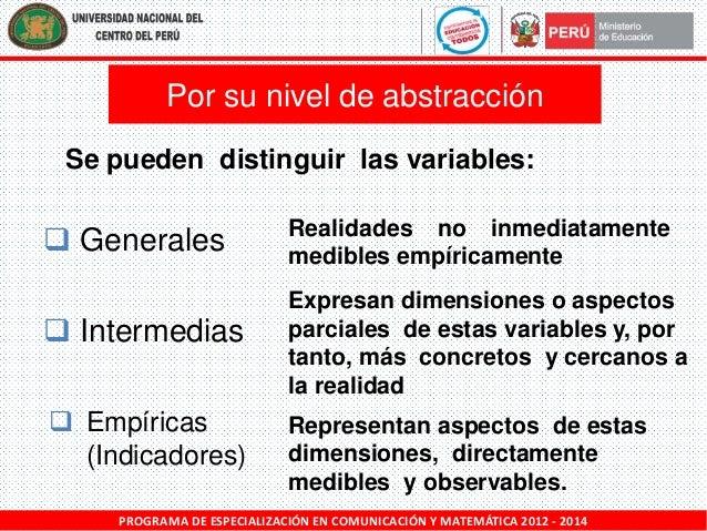 Por su nivel de abstracción Se pueden distinguir las variables:   Generales   Intermedias  Empíricas (Indicadores)  Rea...