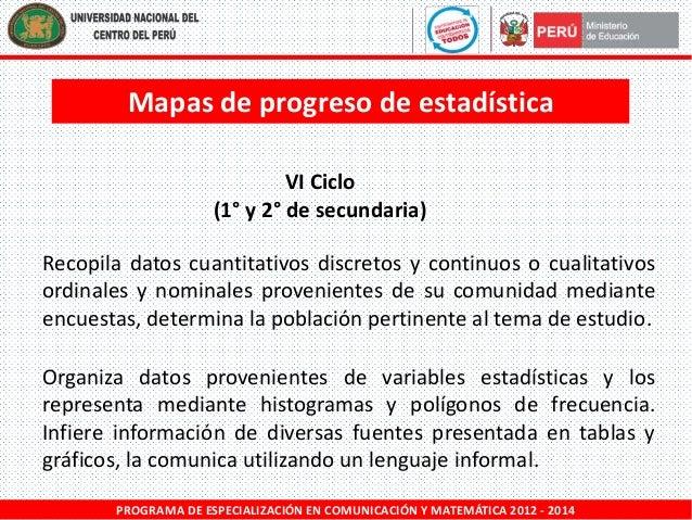 Mapas de progreso de estadística VI Ciclo (1° y 2° de secundaria) Recopila datos cuantitativos discretos y continuos o cua...