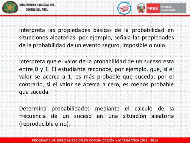 Interpreta las propiedades básicas de la probabilidad en situaciones aleatorias; por ejemplo, señala las propiedades de la...