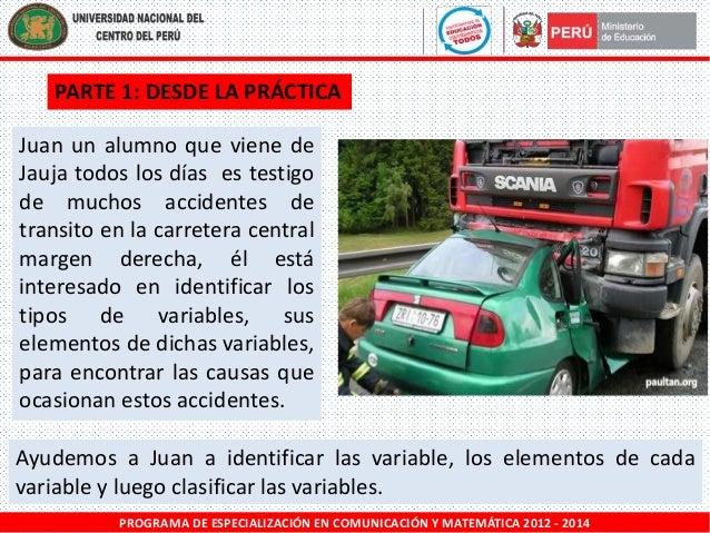 PARTE 1: DESDE LA PRÁCTICA Juan un alumno que viene de Jauja todos los días es testigo de muchos accidentes de transito en...