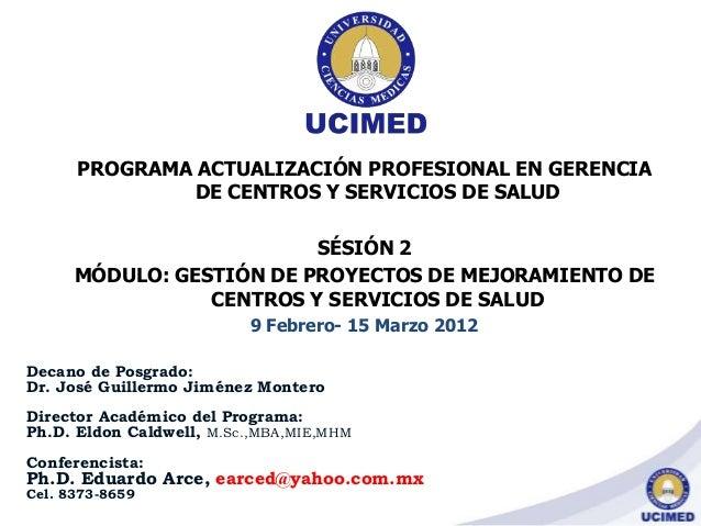 PROGRAMA ACTUALIZACIÓN PROFESIONAL EN GERENCIA DE CENTROS Y SERVICIOS DE SALUD SÉSIÓN 2 MÓDULO: GESTIÓN DE PROYECTOS DE ME...