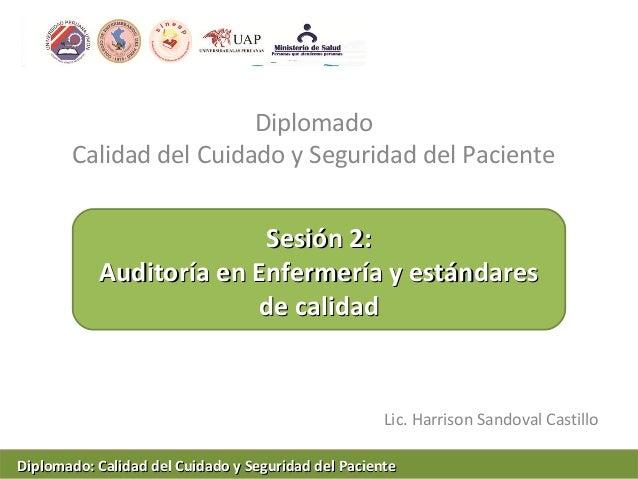 DiplomadoCalidad del Cuidado y Seguridad del PacienteLic. Harrison Sandoval CastilloSesión 2:Sesión 2:Auditoría en Enferme...