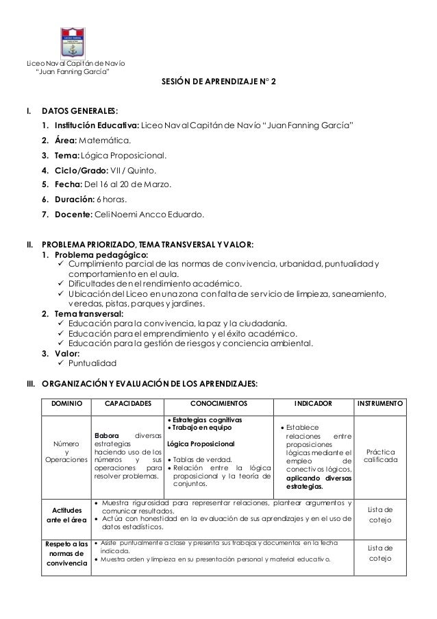 """Liceo Naval Capitán de Navío """"Juan Fanning García"""" SESIÓN DE APRENDIZAJE N° 2 I. DATOS GENERALES: 1. Institución Educativa..."""