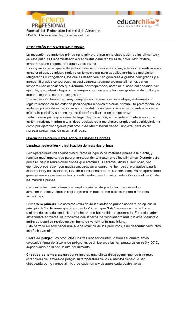 Especialidad: Elaboración Industrial de Alimentos Módulo: Elaboración de productos del mar RECEPCIÓN DE MATERIAS PRIMAS La...