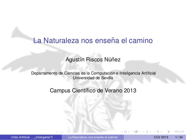La Naturaleza nos ense˜na el camino Agust´ın Riscos N´u˜nez Departamento de Ciencias de la Computaci´on e Inteligencia Art...