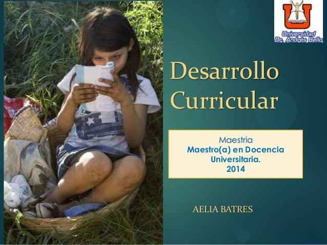 AELIA BATRES Desarrollo Curricular Maestria Maestro(a) en Docencia Universitaria. 2014