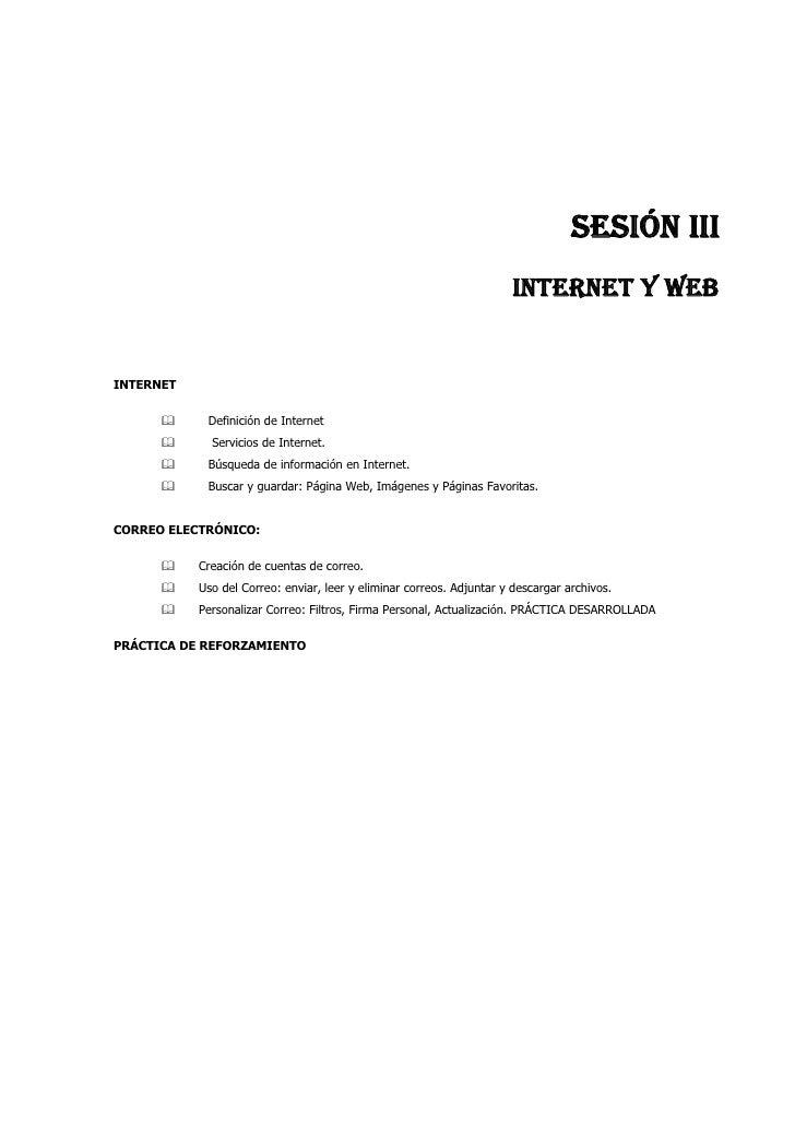 SESIÓN III                                                                       INTERNET Y WEB   INTERNET               D...