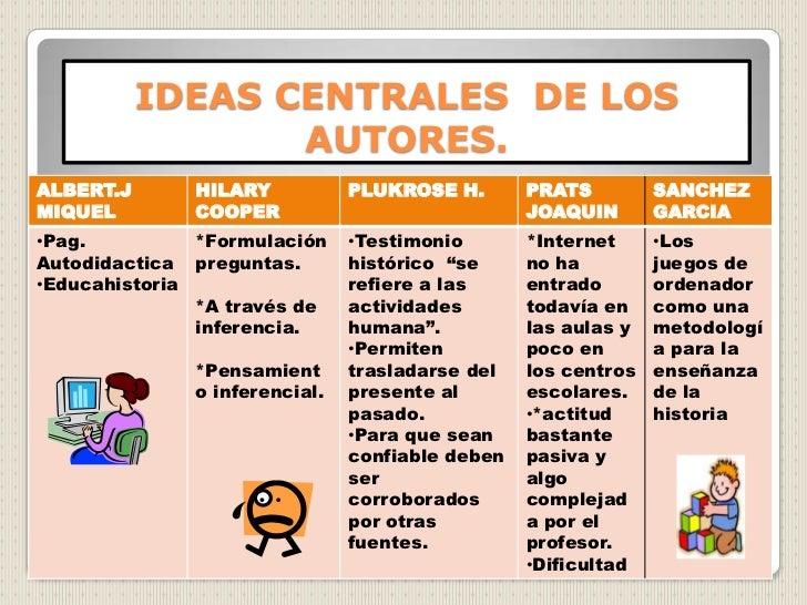 IDEAS CENTRALES  DE LOS AUTORES.<br />