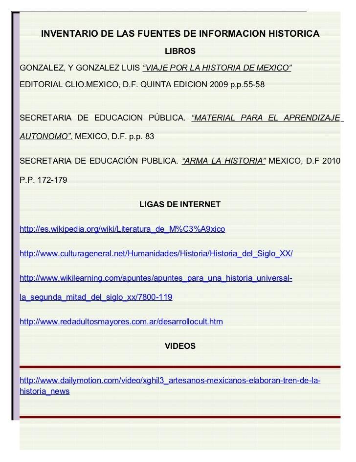 """INVENTARIO DE LAS FUENTES DE INFORMACION HISTORICA                                      LIBROSGONZALEZ, Y GONZALEZ LUIS """"V..."""