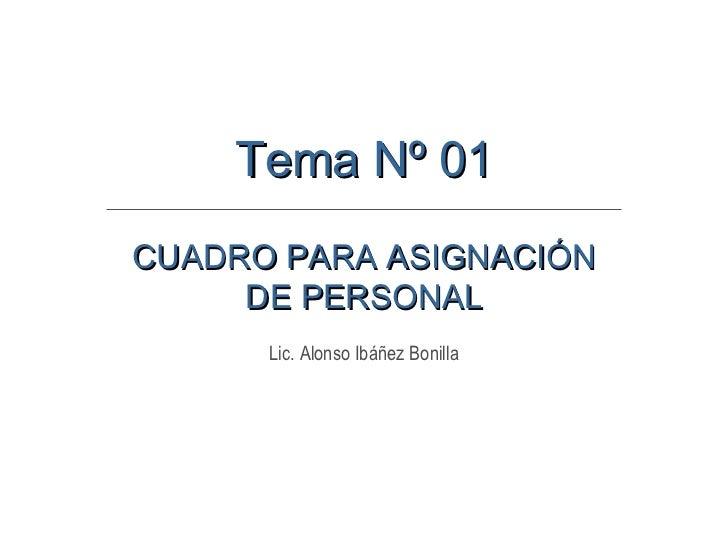CUADRO PARA ASIGNACIÓN DE PERSONAL Lic. Alonso Ibáñez Bonilla Tema Nº 01