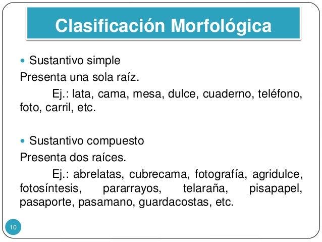 Clasificación Morfológica 10  Sustantivo simple Presenta una sola raíz. Ej.: lata, cama, mesa, dulce, cuaderno, teléfono,...