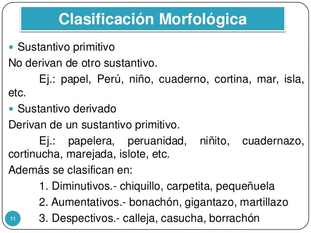 Clasificación Morfológica 11  Sustantivo primitivo No derivan de otro sustantivo. Ej.: papel, Perú, niño, cuaderno, corti...