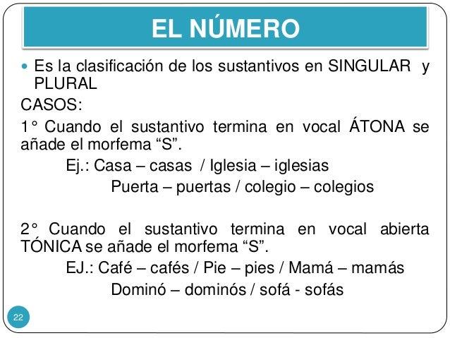EL NÚMERO 22  Es la clasificación de los sustantivos en SINGULAR y PLURAL CASOS: 1° Cuando el sustantivo termina en vocal...