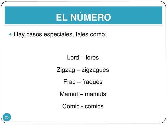 EL NÚMERO 25  Hay casos especiales, tales como: Lord – lores Zigzag – zigzagues Frac – fraques Mamut – mamuts Comic - com...