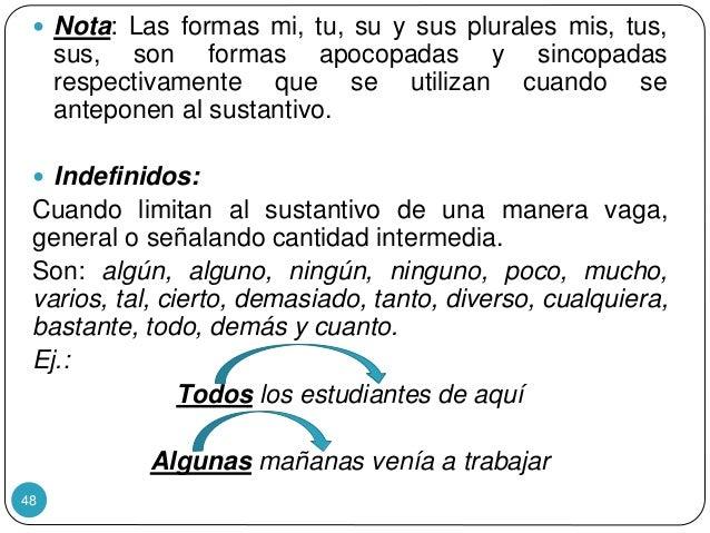 48  Nota: Las formas mi, tu, su y sus plurales mis, tus, sus, son formas apocopadas y sincopadas respectivamente que se u...