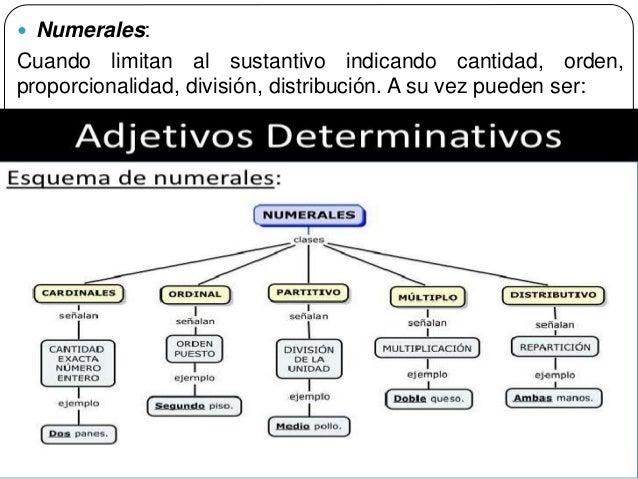49  Numerales: Cuando limitan al sustantivo indicando cantidad, orden, proporcionalidad, división, distribución. A su vez...