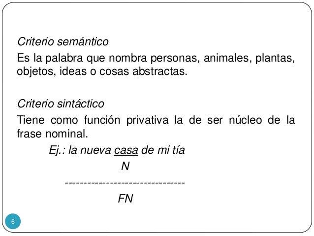 6 Criterio semántico Es la palabra que nombra personas, animales, plantas, objetos, ideas o cosas abstractas. Criterio sin...