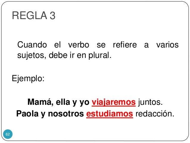 REGLA 3 Cuando el verbo se refiere a varios sujetos, debe ir en plural. Ejemplo: Mamá, ella y yo viajaremos juntos. Paola ...