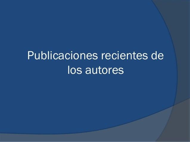 Publicaciones recientes de los autores