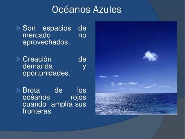 Océanos Azules  Son espacios de mercado no aprovechados.  Creación de demanda y oportunidades.  Brota de los océanos ro...