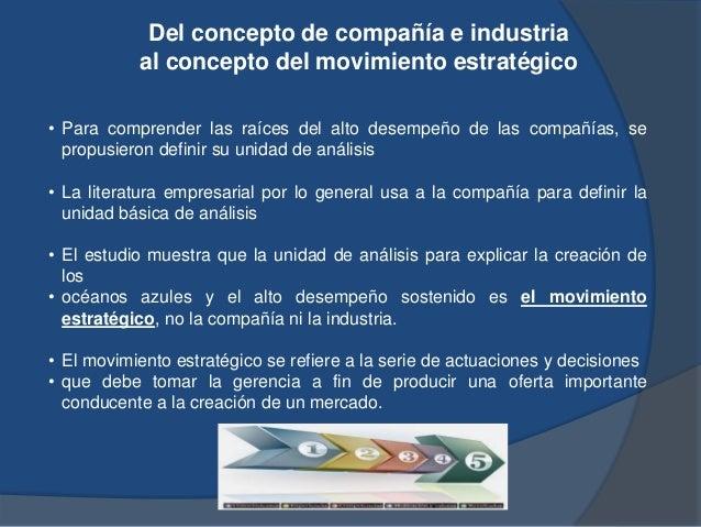 Del concepto de compañía e industria al concepto del movimiento estratégico • Para comprender las raíces del alto desempeñ...
