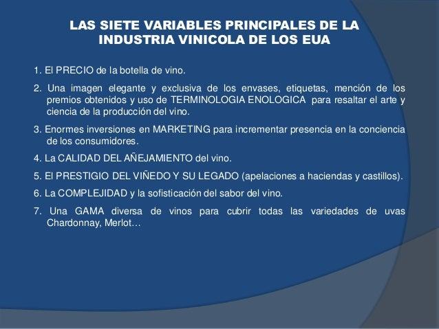 LAS SIETE VARIABLES PRINCIPALES DE LA INDUSTRIA VINICOLA DE LOS EUA 1. El PRECIO de la botella de vino. 2. Una imagen eleg...
