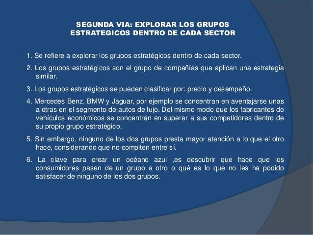 SEGUNDA VIA: EXPLORAR LOS GRUPOS ESTRATEGICOS DENTRO DE CADA SECTOR 1. Se refiere a explorar los grupos estratégicos dentr...