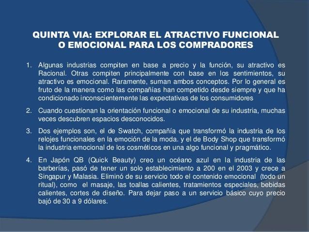 QUINTA VIA: EXPLORAR EL ATRACTIVO FUNCIONAL O EMOCIONAL PARA LOS COMPRADORES 1. Algunas industrias compiten en base a prec...