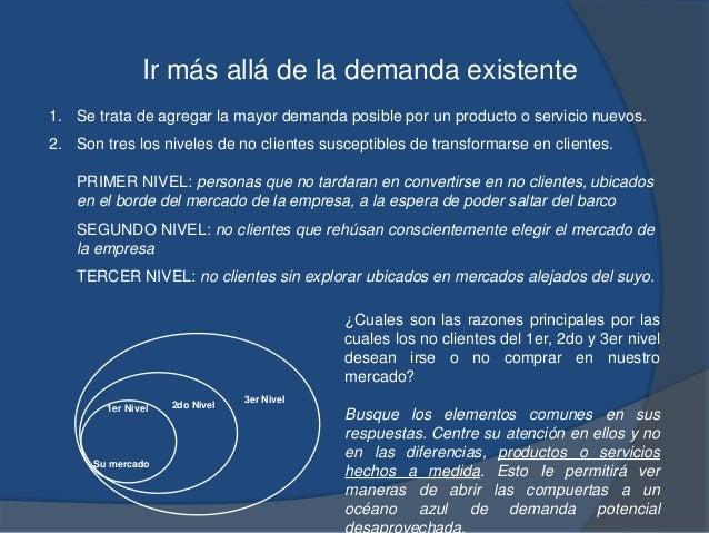 Ir más allá de la demanda existente 1. Se trata de agregar la mayor demanda posible por un producto o servicio nuevos. 2. ...