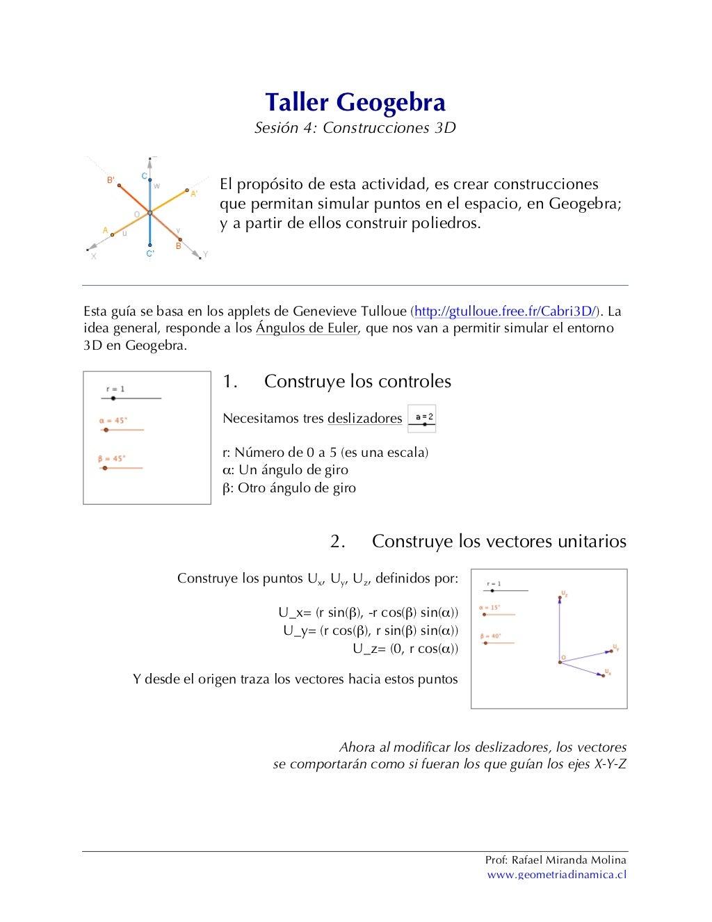 Sesión 4: Construcciones 3D en Geogebra (LEMC USACH)