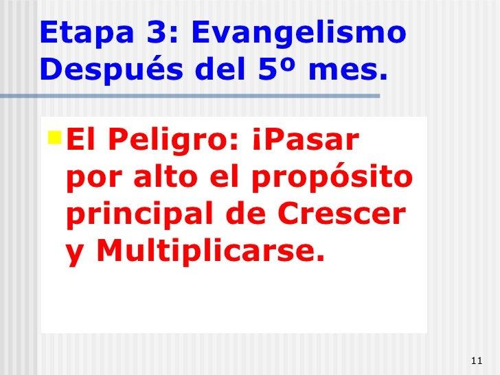 Etapa 3: Evangelismo Después del 5º mes. <ul><li>El Peligro: ¡Pasar por alto el propósito principal de Crescer y Multiplic...