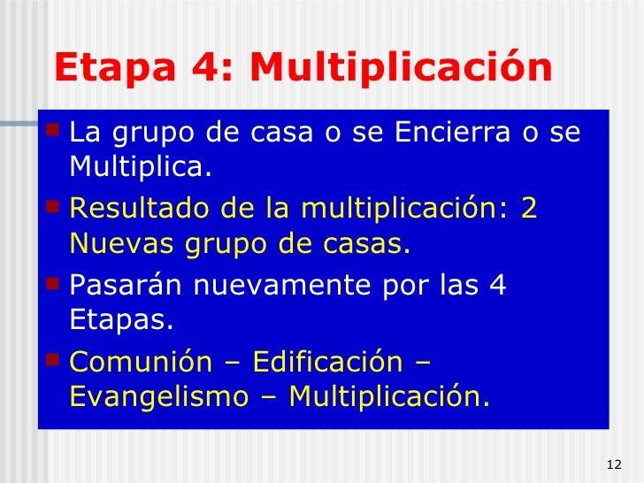 Etapa 4: Multiplicación <ul><li>La grupo de casa o se Encierra o se Multiplica.  </li></ul><ul><li>Resultado de la multipl...