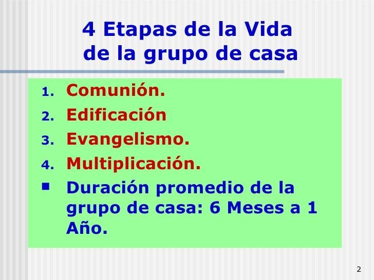 4 Etapas de la Vida  de la grupo de casa <ul><li>Comunión. </li></ul><ul><li>Edificación </li></ul><ul><li>Evangelismo. </...