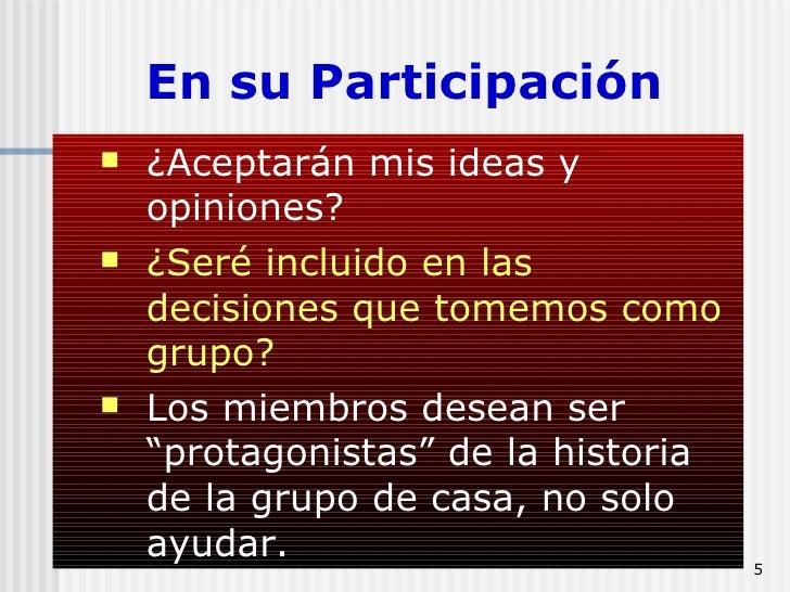 En su Participación <ul><ul><li>¿Aceptarán mis ideas y opiniones? </li></ul></ul><ul><ul><li>¿Seré incluido en las decisio...