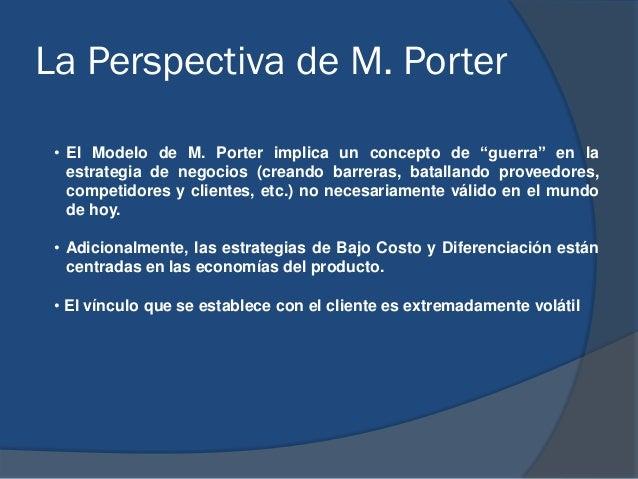 """La Perspectiva de M. Porter • El Modelo de M. Porter implica un concepto de """"guerra"""" en la estrategia de negocios (creando..."""