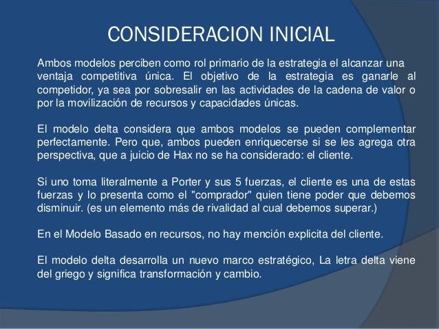 CONSIDERACION INICIAL Ambos modelos perciben como rol primario de la estrategia el alcanzar una ventaja competitiva única....