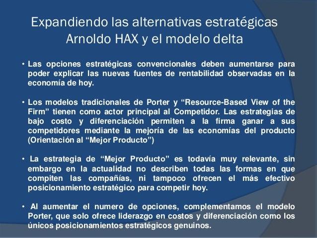 Expandiendo las alternativas estratégicas Arnoldo HAX y el modelo delta • Las opciones estratégicas convencionales deben a...
