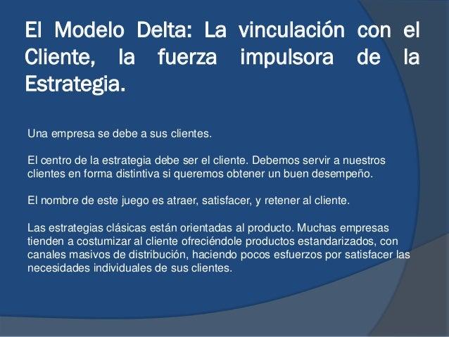 El Modelo Delta: La vinculación con el Cliente, la fuerza impulsora de la Estrategia. Una empresa se debe a sus clientes. ...