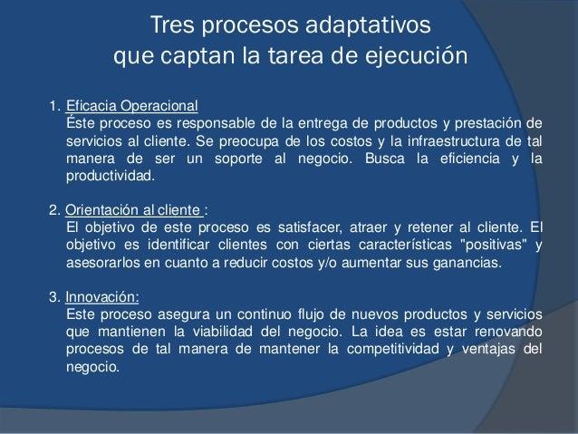 Tres procesos adaptativos que captan la tarea de ejecución 1. Eficacia Operacional Éste proceso es responsable de la entre...