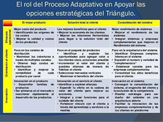 El rol del Proceso Adaptativo en Apoyar las opciones estratégicas del Triángulo. El mejor producto Solución total al clien...