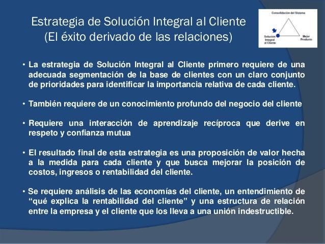 Estrategia de Solución Integral al Cliente (El éxito derivado de las relaciones) • La estrategia de Solución Integral al C...