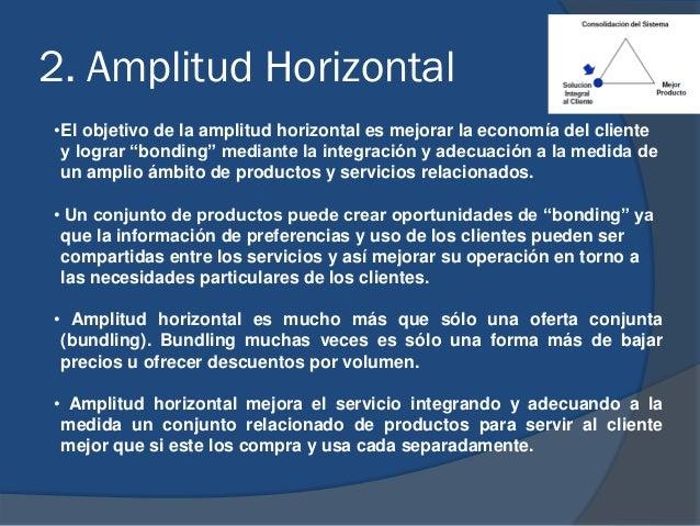 """2. Amplitud Horizontal •El objetivo de la amplitud horizontal es mejorar la economía del cliente y lograr """"bonding"""" median..."""